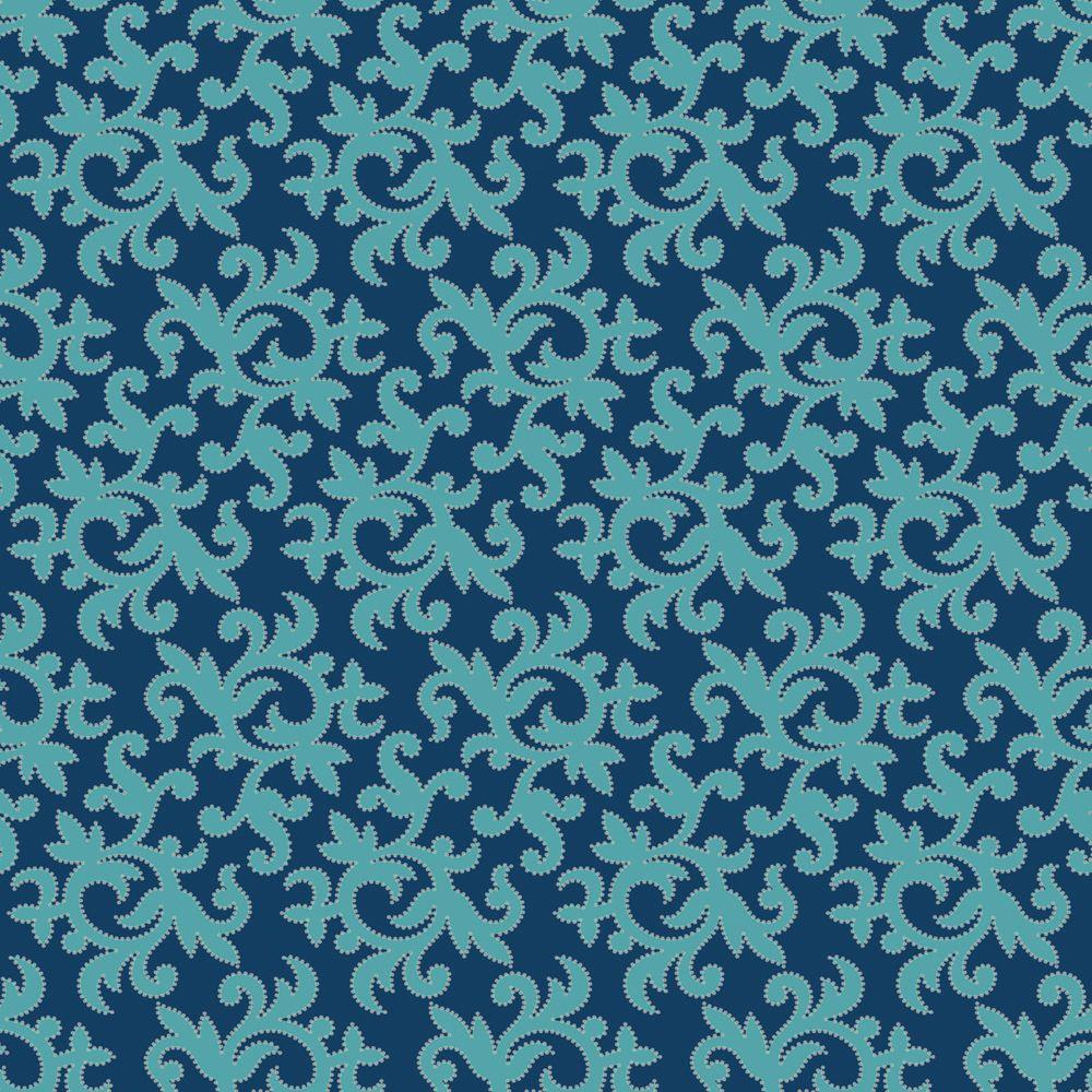 The Wallpaper Company 56 sq. ft. Aqua and Blue All-Over Multi Swirl Print with Metallic Outline Wallpaper-DISCONTINUED