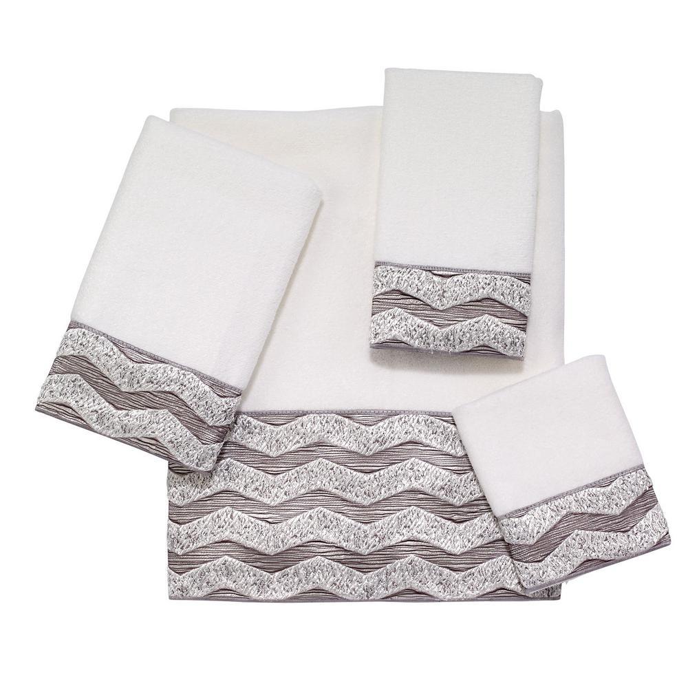 Chevron 3-Piece White Geometric Bath Towel Set