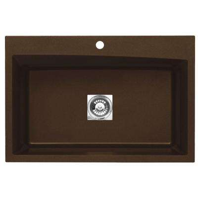 Dual Mount Granite 33 in. 1-Hole Single Bowl Kitchen Sink in Metallic Chocolate