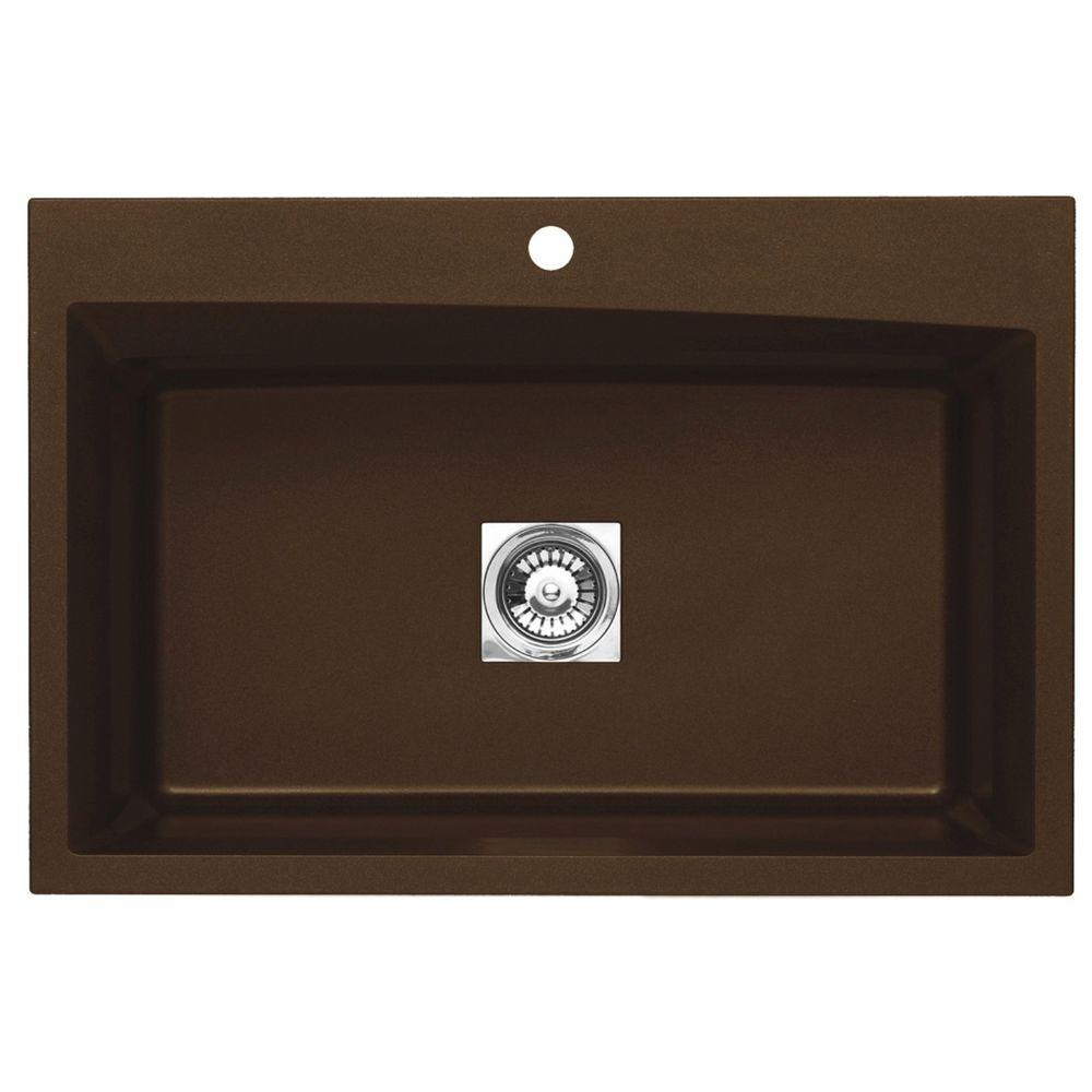 null Dual Mount Granite 33 in. 1-Hole Large Single Basin Kitchen Sink in Metallic Chocolate
