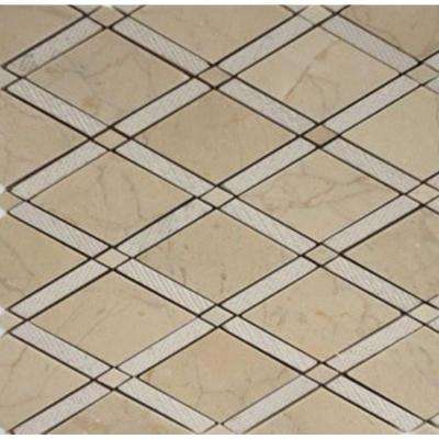 Grand Textured Crema Marfil Polished Marble Tile - 3 in. x 6 in. Tile Sample