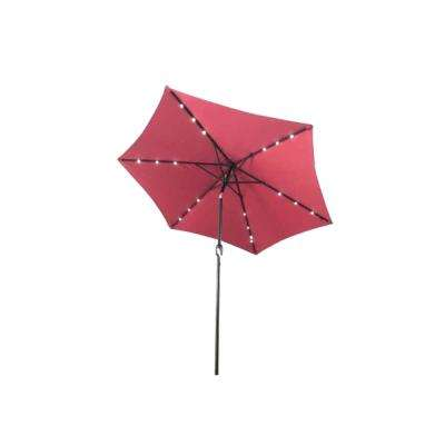 9 ft. Steel Market Solar Tilt Patio Umbrella in Burgundy