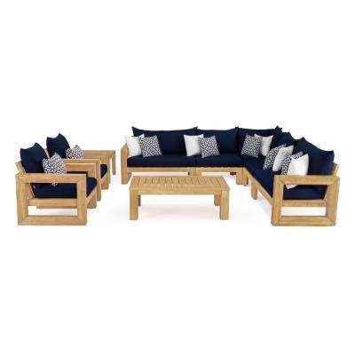 Benson 9-Piece Wood Patio Sectional Seating Set with Sunbrella Navy Blue Cushions