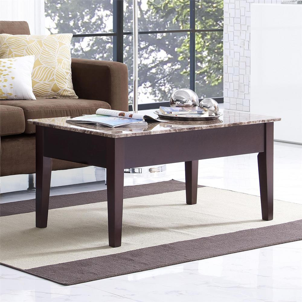 Dorel Erna Espresso Faux Marble Lift Top Coffee Table