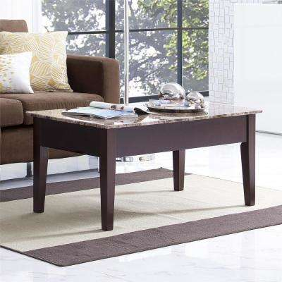 Erna Espresso Faux Marble Lift Top Coffee Table