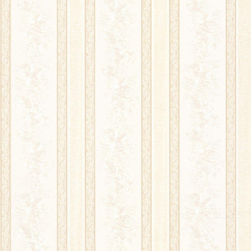 Trish Champagne Satin Floral Scroll Stripe Wallpaper