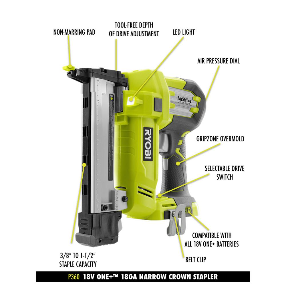 Ryobi 18 Volt One Lithium Ion Airstrike 18 Gauge Cordless Narrow Crown Stapler With Sample Staples Tool Only