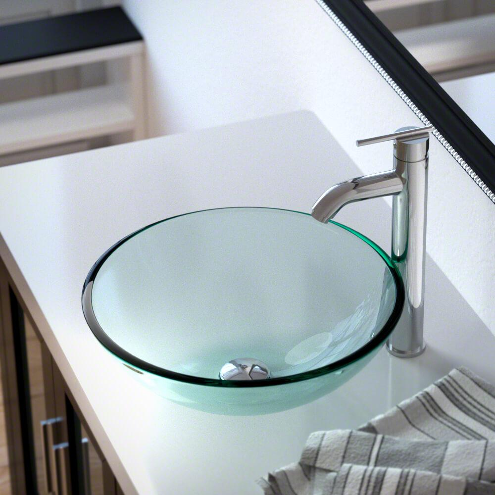 MR Direct Glass Vessel Sink in Crystal with 718 Faucet and Pop-Up Drain in Chrome