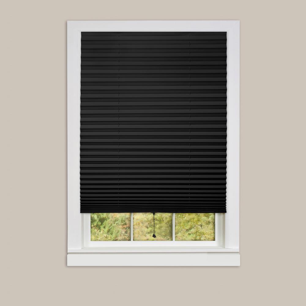 1-2-3 Black Vinyl Room Darkening Window Pleated Shade - 36 in. W x 75 in. L