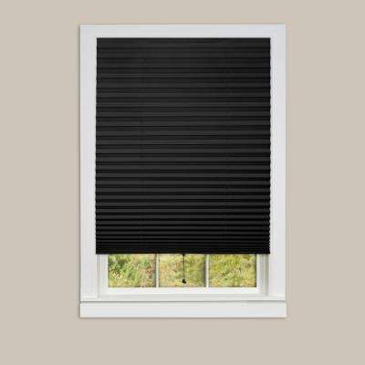 1-2-3 Black Vinyl Room Darkening Window Pleated Shade - 48 in. W x 75 in. L