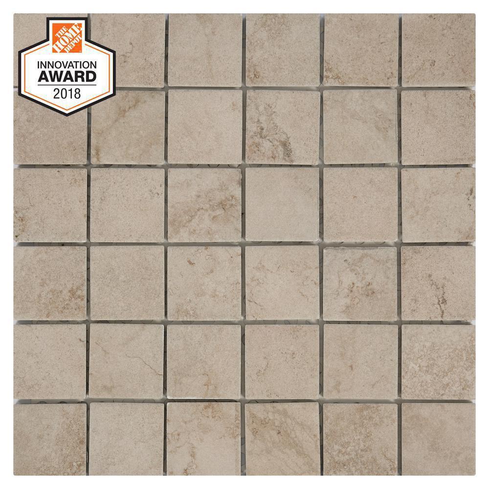 Limestone 12 in. x 12 in. x 6.35mm Ceramic Mosaic Tile