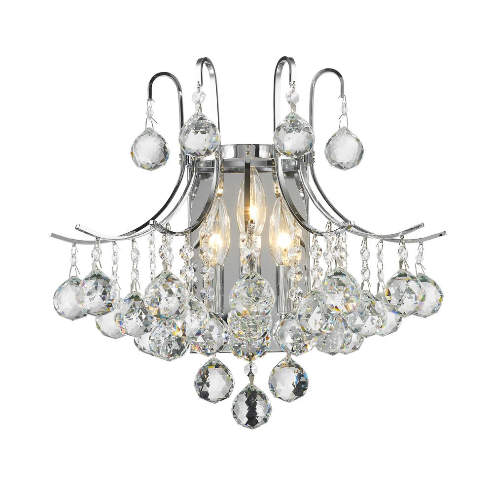 Empire 3-Light Polished Chrome Sconce with Clear Crystal