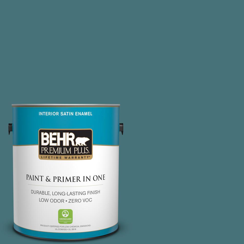 1 gal. #HDC-FL15-03 Blue Sage Zero VOC Satin Enamel Interior Paint