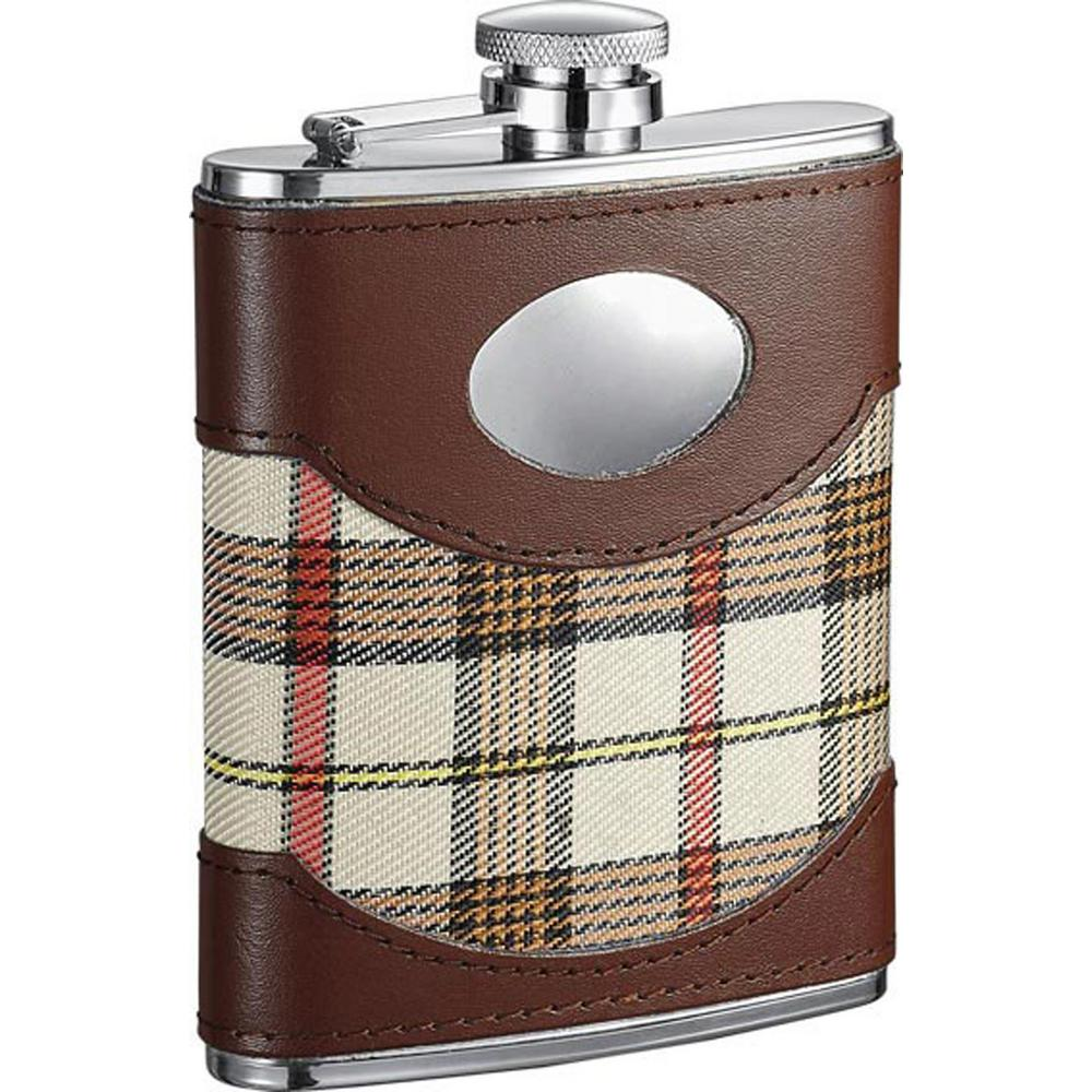 Braw Plaid and Leather Liquor Flask 6 oz.