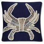 Beaded Crab Polyester 20 in. x 20 in. Throw Pillow