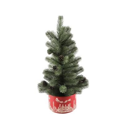 24 in. H Artificial Faux Chiristmas Tree in 7 in. Red Cityscape Ceramic Pot