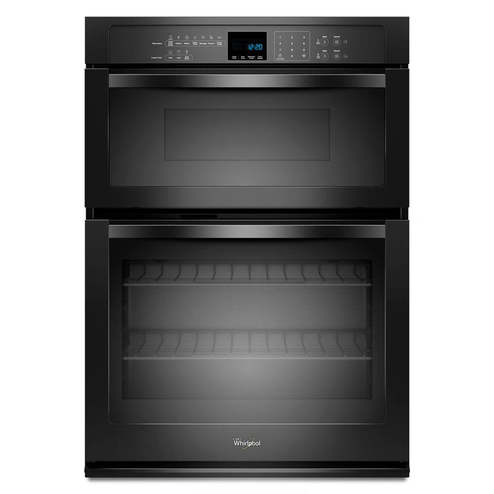 whirlpool 27 in electric wall oven with built in microwave in black woc54ec7ab the home depot. Black Bedroom Furniture Sets. Home Design Ideas