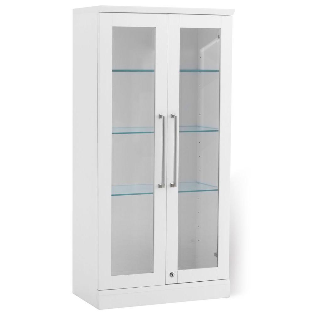 White Cabinet Door With Glass. NewAge Products Home Bar White Tall Wall  Display Cabinet
