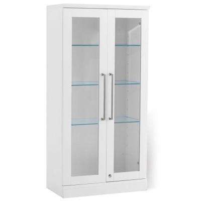 Home Bar White Tall Wall Display Cabinet