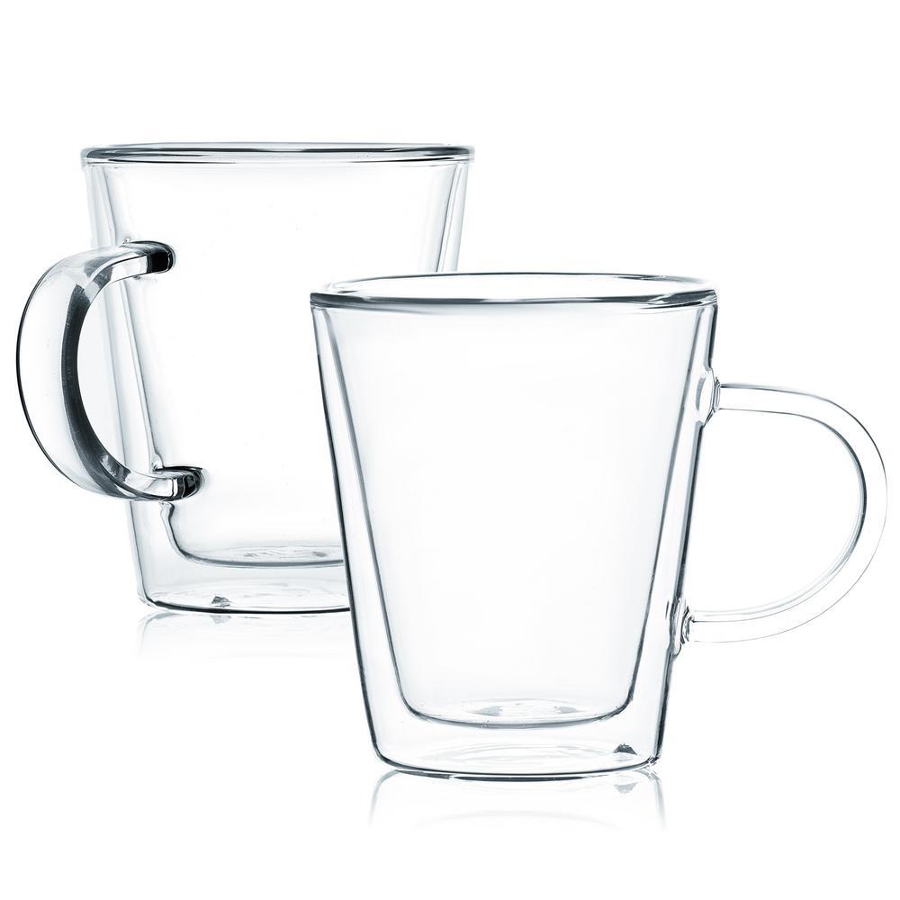 Double Wall Glass Mugs Latte Coffee Mugs With Handle (Set of 8)