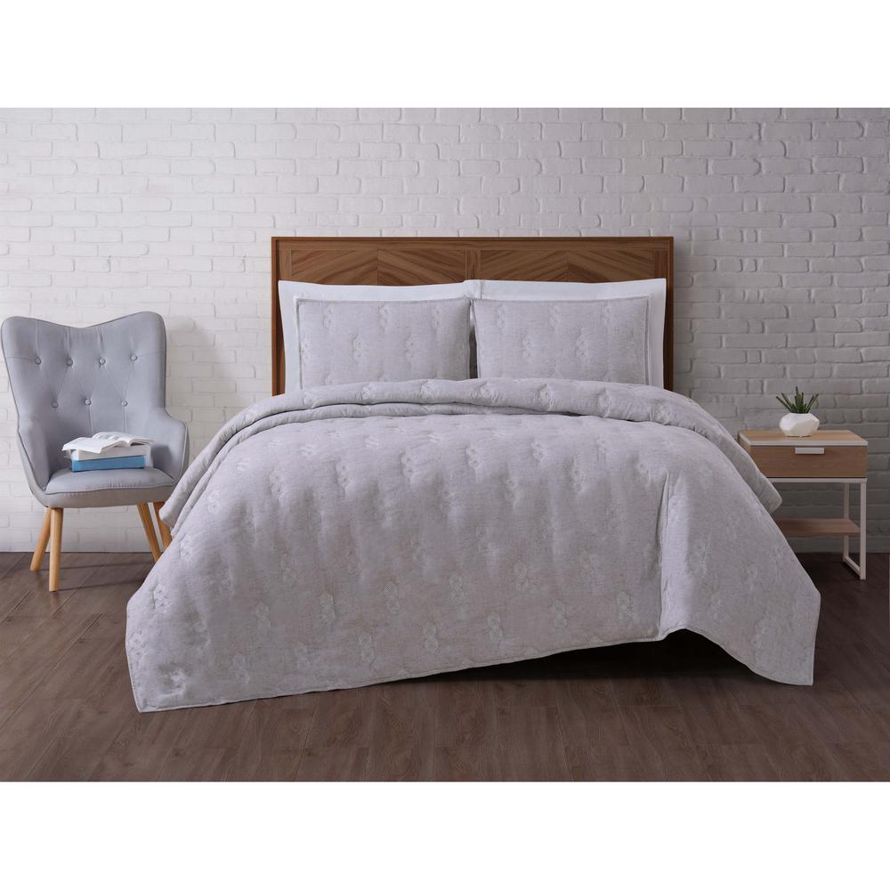 Tender Grey Full/Queen Quilt Set