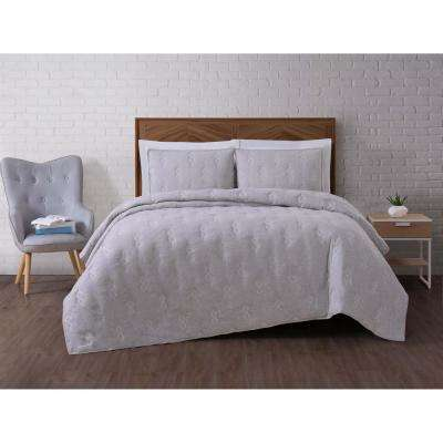 Tender Grey King Quilt Set