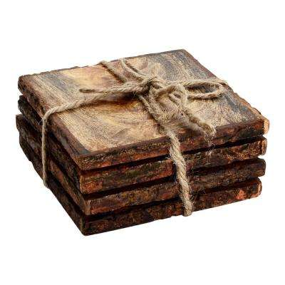 Log Cut 4-Pieces Square Coaster Set