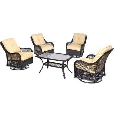 Orleans 5-Piece Wicker Patio Conversation Set with Sahara Sand Cushions