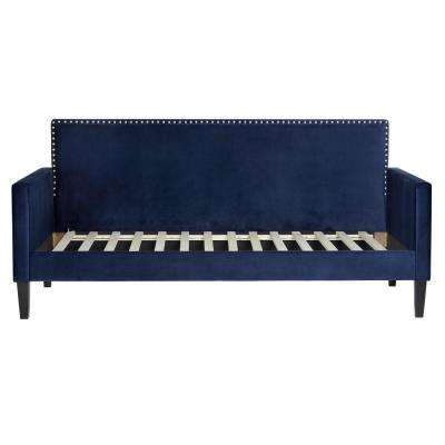 Navy Blue Velvet Upholstered Twin-size Square Back Daybed