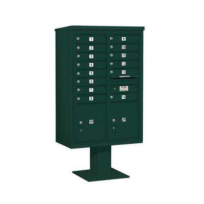 3400 Series 63-1/4 in. 13 Door High Unit Green 4C Pedestal Mailbox with 14 MB1 Doors/2 PL5