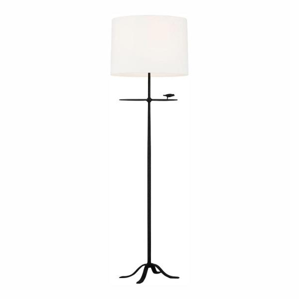 ED Ellen DeGeneres Crafted by Generation Lighting Caroline 60.25 in. Aged Iron Floor Lamp White Linen Shade and LED Bulb