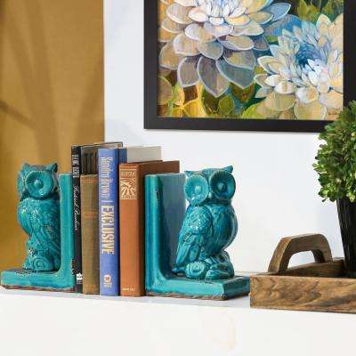 8.5 in. H Owl Decorative Sculpture in Turquoise Gloss Distressed Finish
