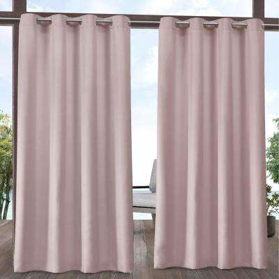 Indoor Outdoor Solid 54 in. W x 108 in. L Grommet Top Curtain Panel in Blush (2 Panels)