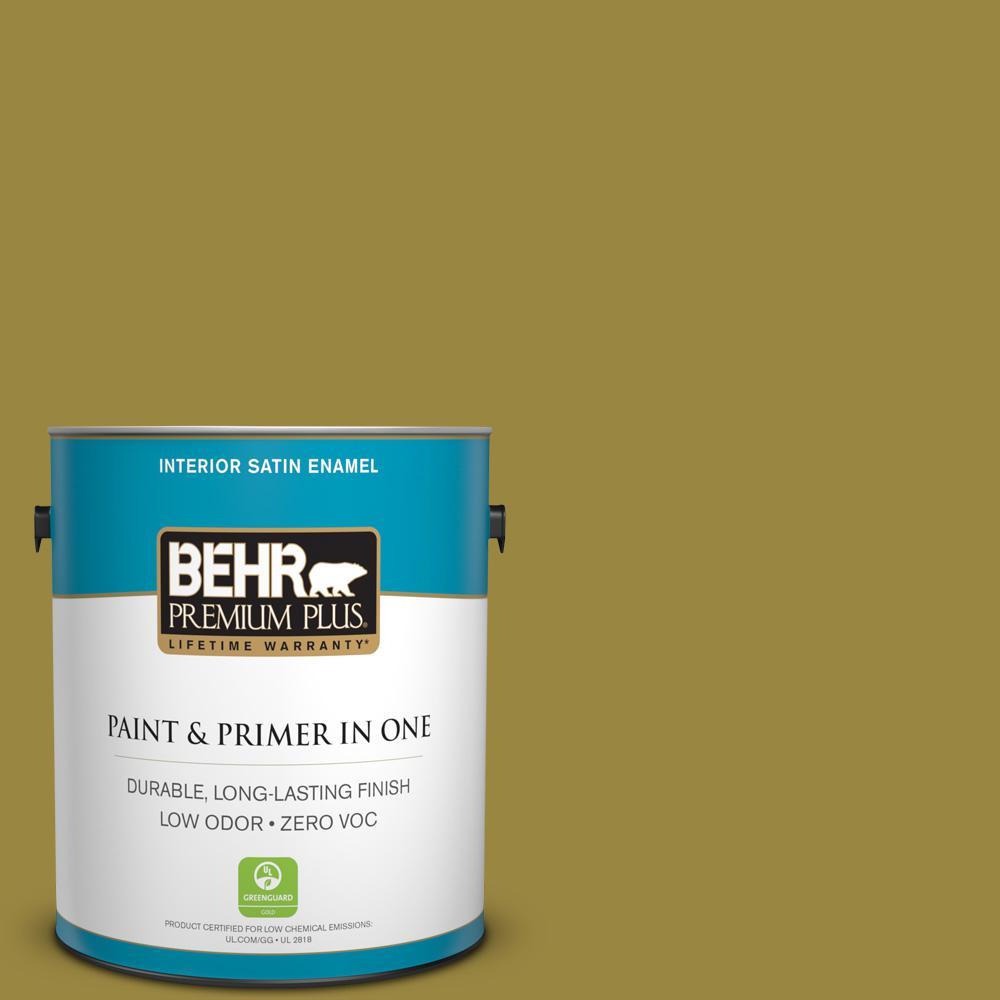 1-gal. #380D-7 Wild Grass Zero VOC Satin Enamel Interior Paint
