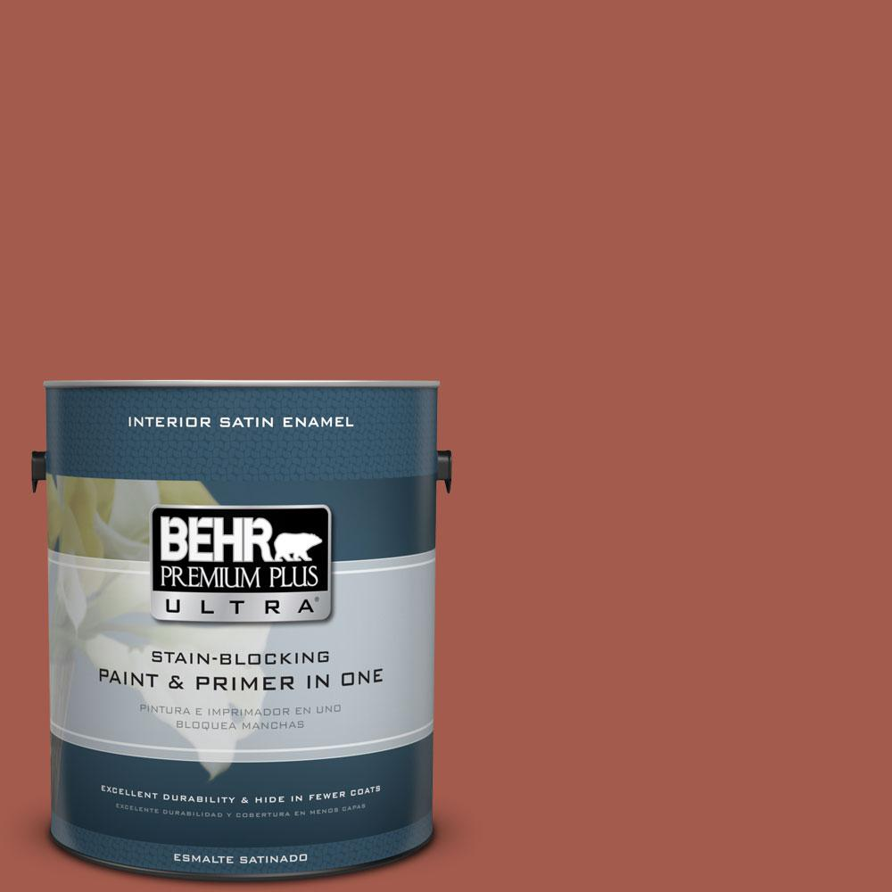 1 gal. #PPU2-15 Cajun Red Satin Enamel Interior Paint and Primer