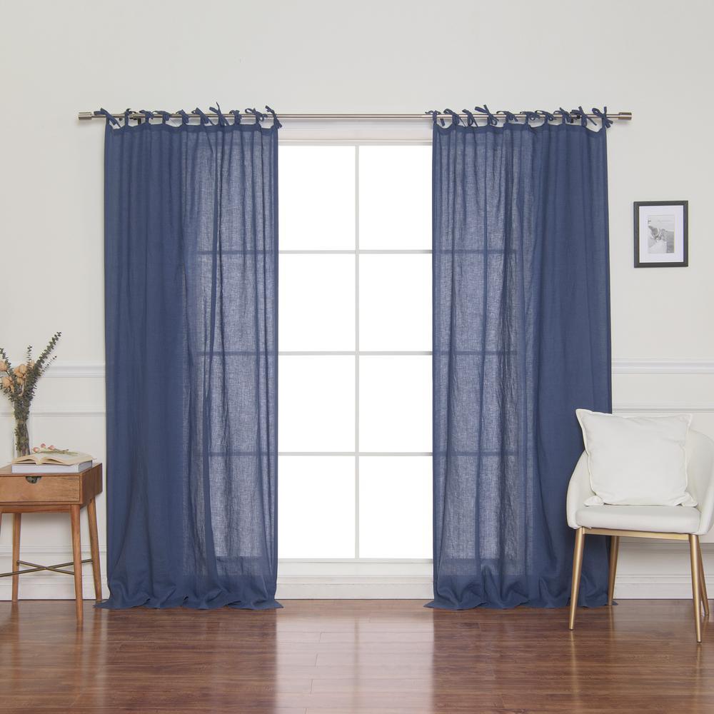 Linen Mid Weight Tie Top Curtain Panel in Indigo - 52 in. x 84 in.
