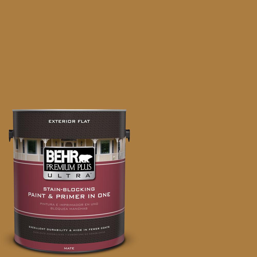 BEHR Premium Plus Ultra 1-gal. #300D-6 Medieval Gold Flat Exterior Paint
