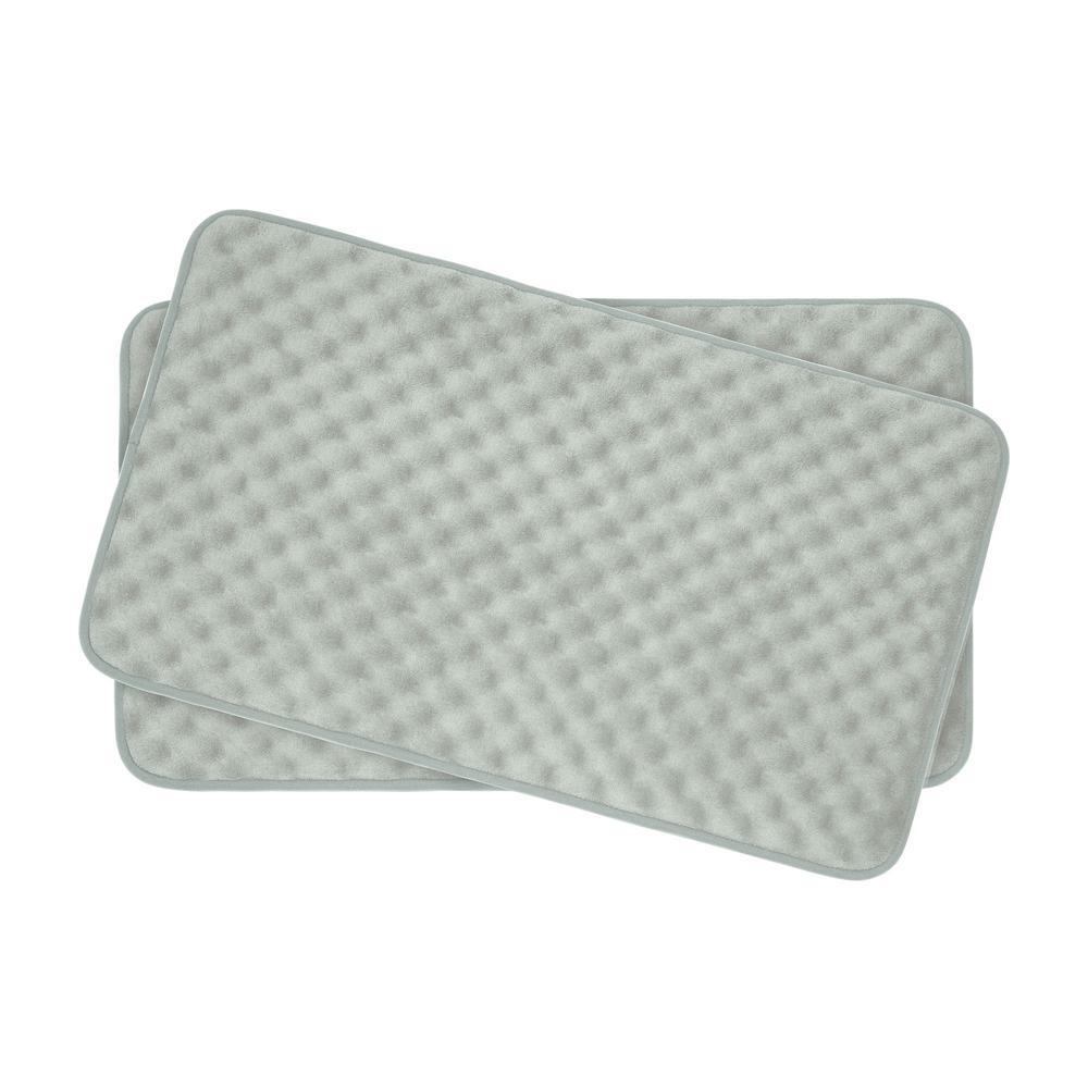 Massage Light Gray 20 in. x 32 in. Memory Foam 2-Piece Bath Mat Set