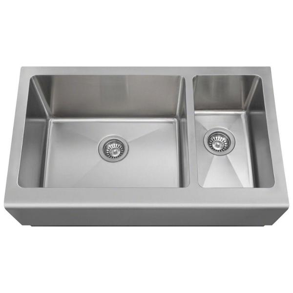 Farmhouse Apron Front Stainless Steel 33 in. Double Bowl Kitchen Sink