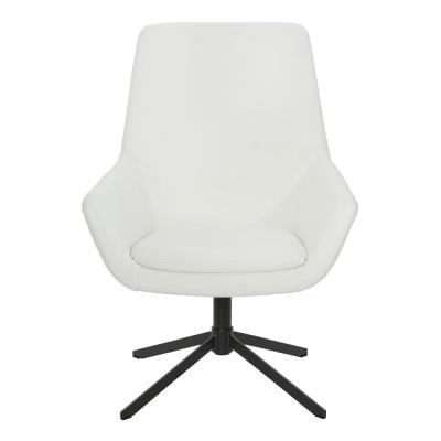 Tubby White Swivel Chair in Faux Leather with Black Base