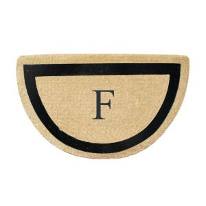 A1HC First Impression Engineered Half Round 24 inch x 36 inch Coir Monogrammed F Door Mat by