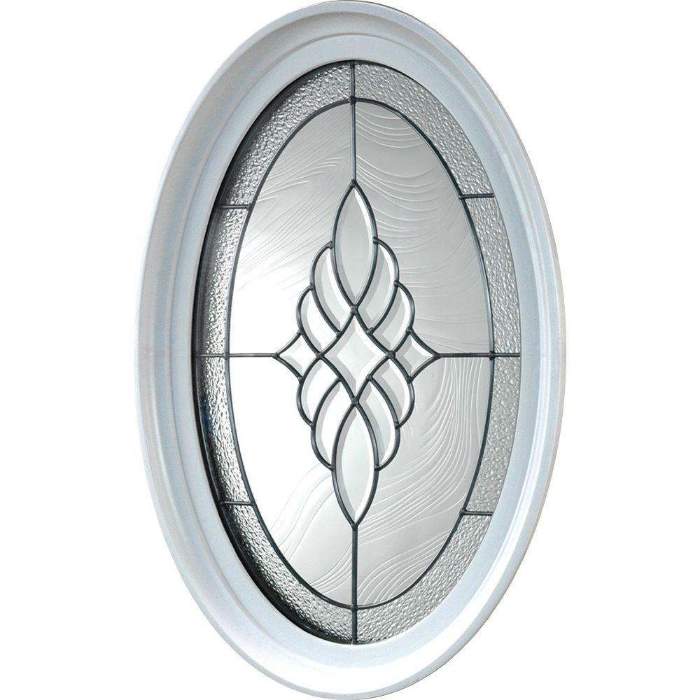 TAFCO WINDOWS 20 in. x 28.75 in. Oval Geometric Vinyl Window in Platinum Design, White