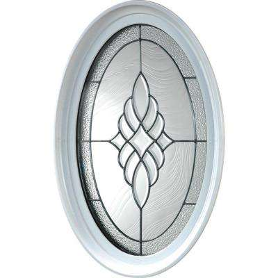 20 in. x 28.75 in. Oval Geometric Vinyl Window in Platinum Design, White