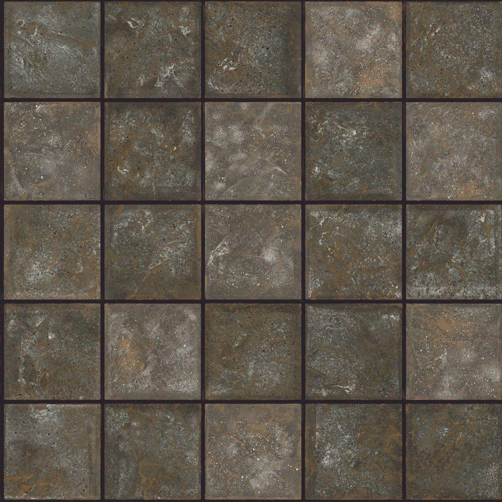 The Wallpaper Company 56 sq. ft. Black Ceramic Tile Wallpaper