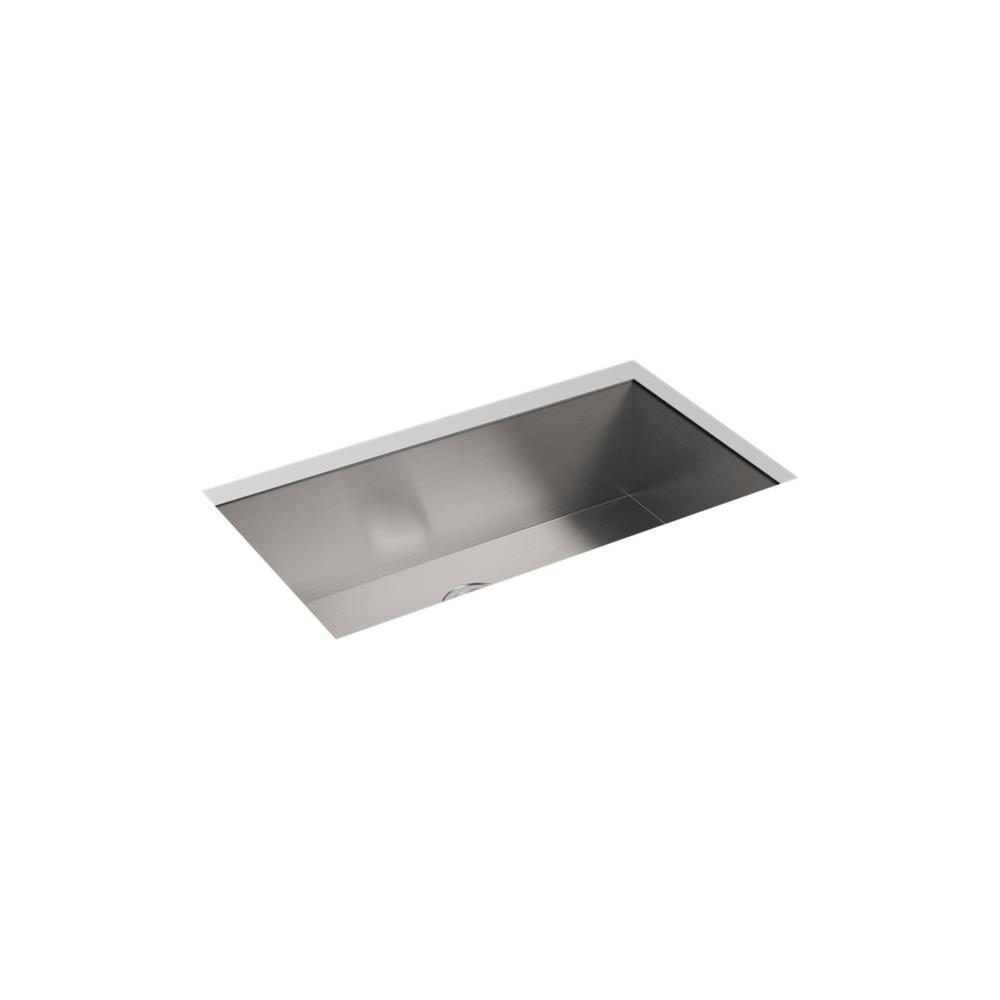 Lyric Undermount Stainless Steel 33 in. 4-Hole Single Bowl Kitchen Sink