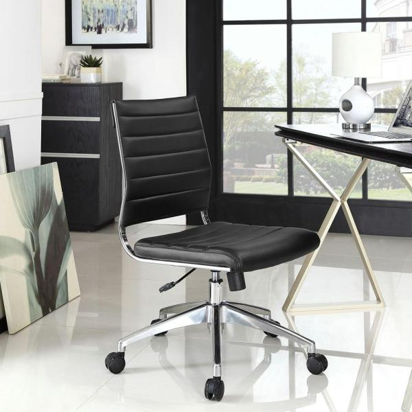 MODWAY Jive Armless Mid Back Office Chair in Black EEI-1525-BLK