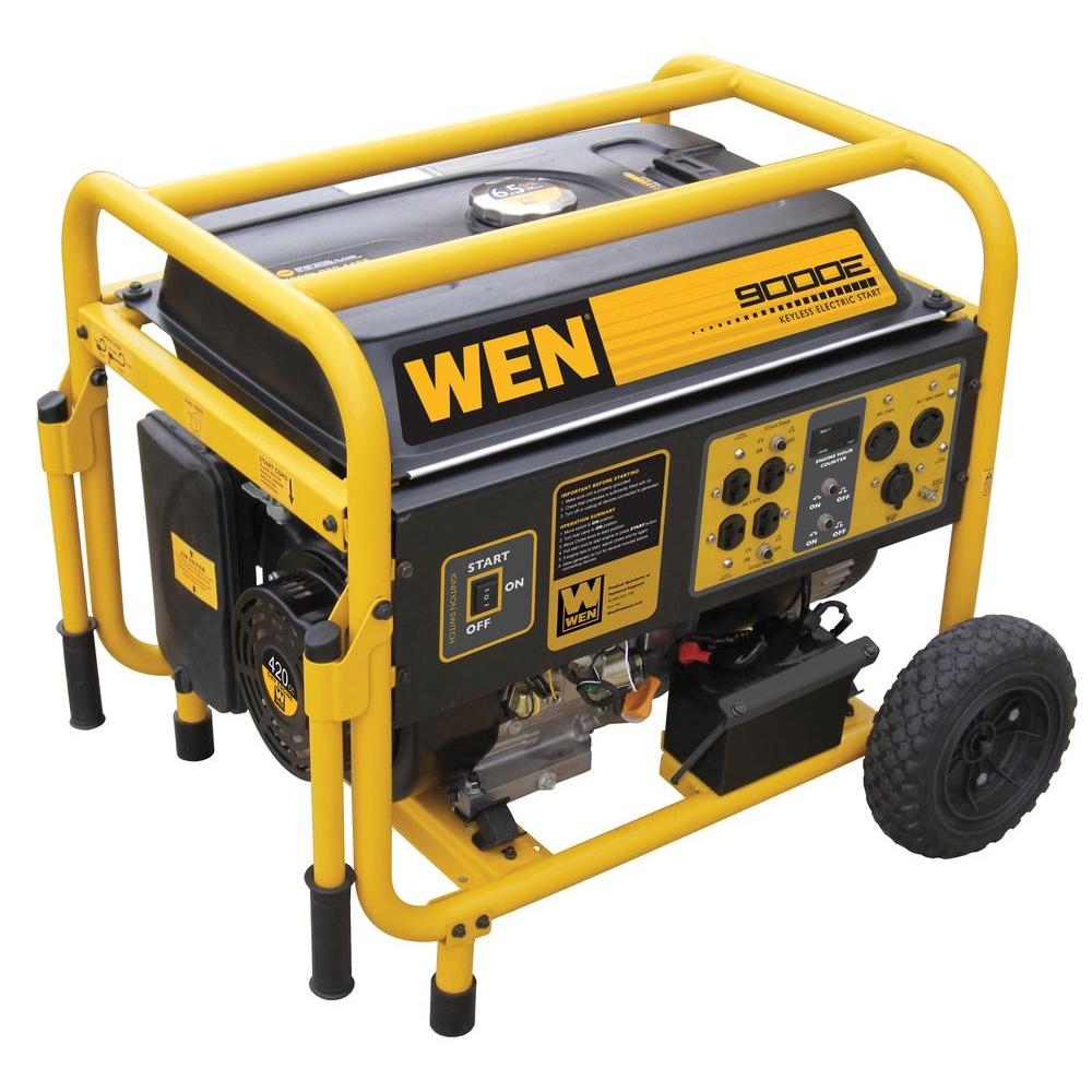 WEN 9,000-Watt Gasoline Powered Generator with Wheel Kit
