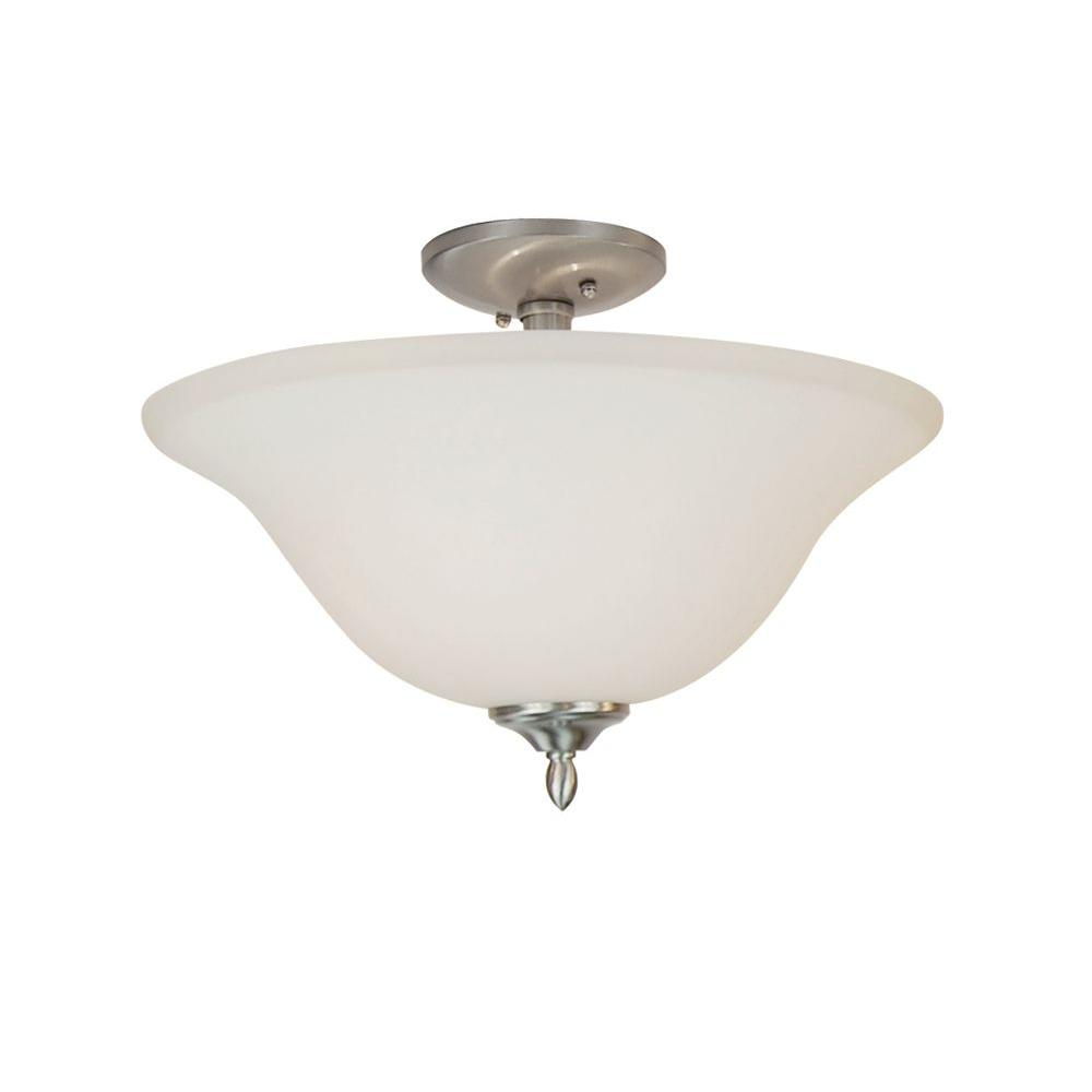 Stewart 2-Light Brushed Nickel Incandescent Ceiling Semi-Flush Mount Light