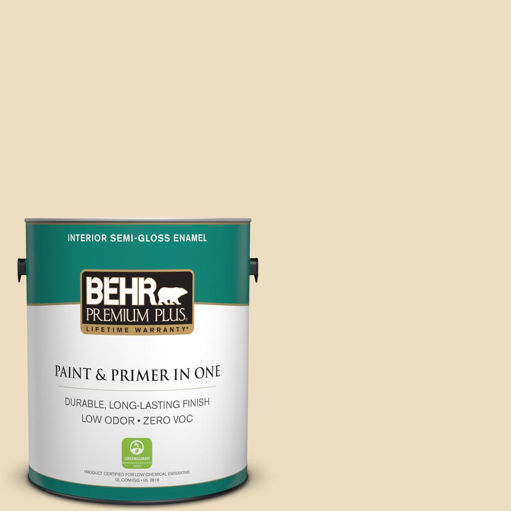 BEHR Premium Plus Home Decorators Collection 1-gal. #HDC-NT-17 New Cream Zero VOC Semi-Gloss Enamel Interior Paint