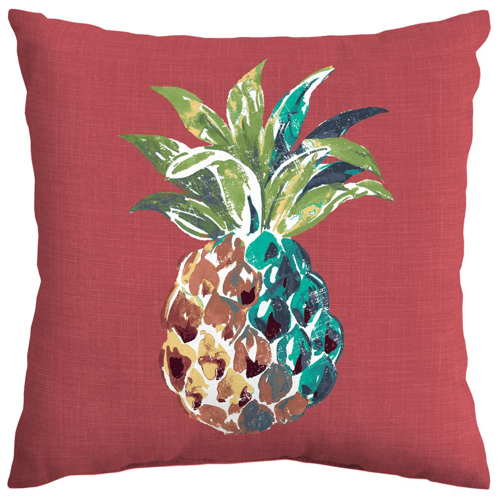 Chili Pineapple Square Outdoor Throw Pillow
